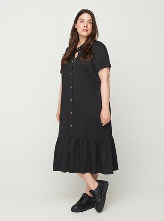 Černé volné košilové midišaty Zizzi
