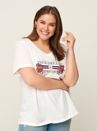 Bílé tričko s potiskem Zizzi