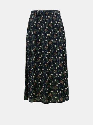 Tmavě modrá květovaná midi sukně Pieces Skylar