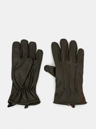 Tmavě hnědé kožené rukavice Jack & Jones Montana