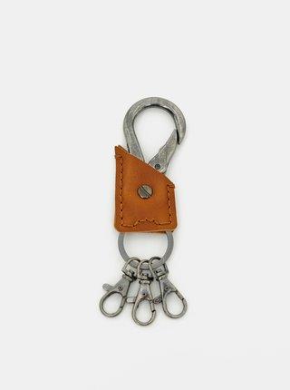 Hnědá kožená klíčenka ONLY & SONS Metal