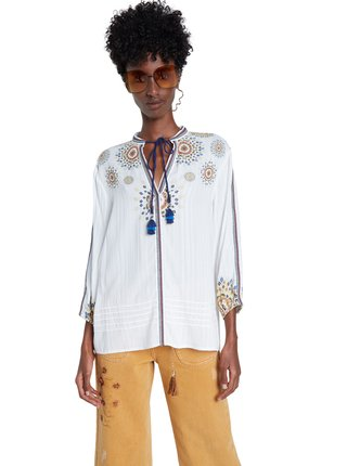 Desigual bílá volná košile Blus Salina