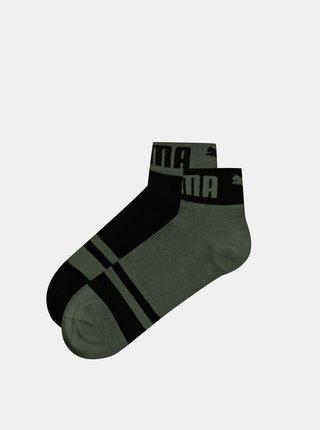 Sada dvoch párov členkových ponožiek v šedej a čiernej farbe Puma