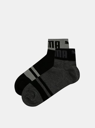 Sada dvoch párov čiernych členkových ponožiek Puma