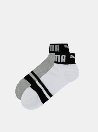 Sada dvoch párov členkových ponožiek v bielej a šedej farbe Puma