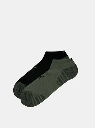 Sada dvou párů nízkých ponožek v šedé a černé barvě Puma