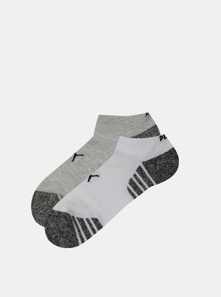 Sada dvoch párov nízkych ponožiek v bielej a šedej farbe Puma