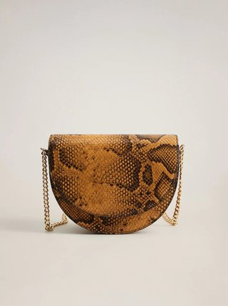Hnědá crossbody kabelka s hadím vzorem Mango Caleo