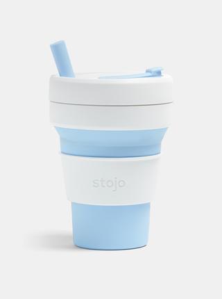 Bílo-modrý cestovní skládací hrnek s brčkem Stojo Biggie 470 ml