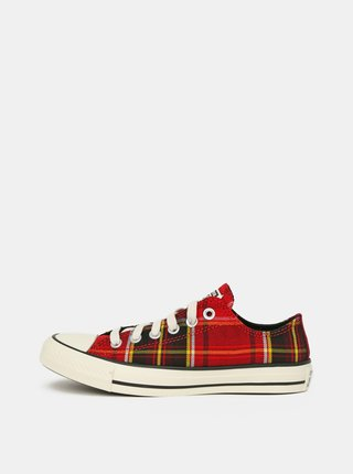 Červené dámské kostkované tenisky Converse
