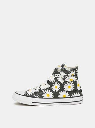 Černé dámské květované kotníkové tenisky Converse