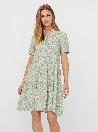 Svetlozelené vzorované šaty VERO MODA Simone