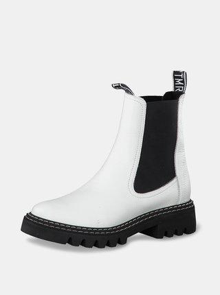 Biele kožené chelsea topánky Tamaris