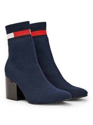 Tommy Hilfiger modré ponožkové boty na podpatku Flag Sock Mid Heel Boot Black