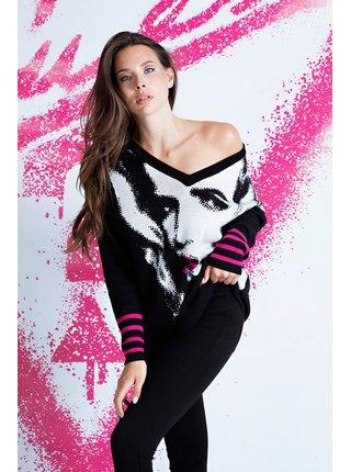 Guess černý svetr Jacquard V Neck Sweater