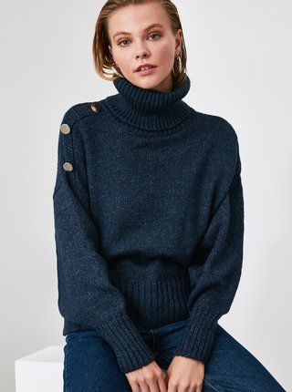 Tmavomodrý sveter Trendyol