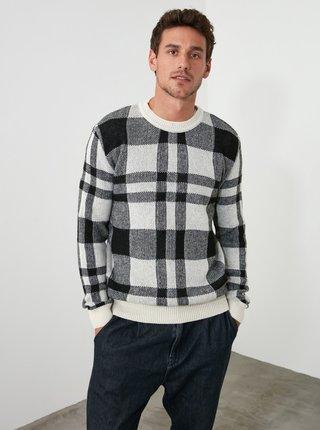 Čierno-biely pánsky vlnený kockovaný sveter Trendyol