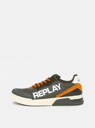 Khaki pánské tenisky s koženými detaily Replay