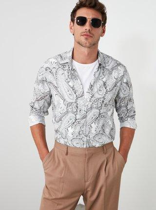 Šedá pánská vzorovaná košile Trendyol
