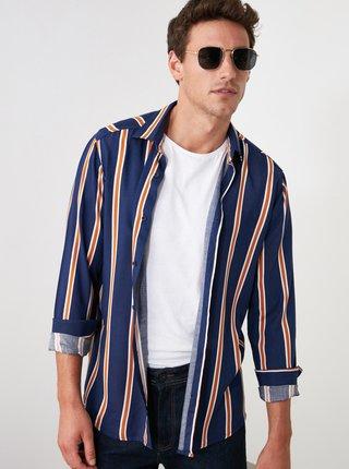 Tmavomodrá pánska pruhovaná košeľa Trendyol