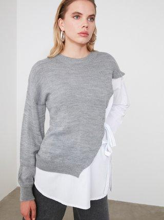 Šedo-bílý svetr Trendyol