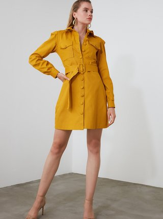 Hořčicový lehký kabát Trendyol