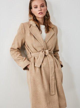 Světle hnědý vlněný kabát Trendyol