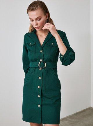 Tmavě zelené košilové šaty Trendyol