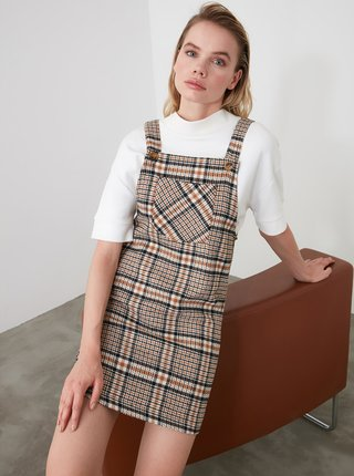 Hnědé kostkované šaty Trendyol