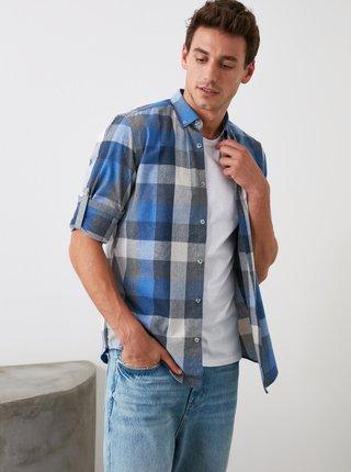 Modro-biela pánska kockovaná košeľa Trendyol