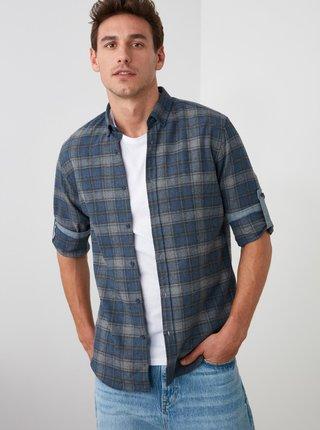 Tmavě modrá pánská kostkovaná košile Trendyol