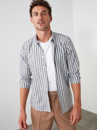 Šedo-biela pánska pruhovaná košeľa Trendyol