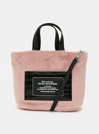 Růžová kabelka s nášivkou Diesel