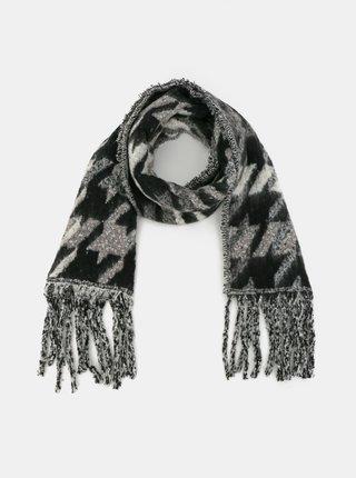 Černo-šedá vzorovaná šála Haily´s