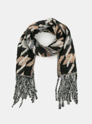 Béžovo-šedá vzorovaná šála Haily´s