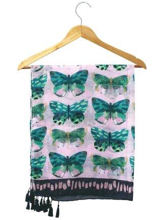 Disaster růžový šátek Papillon Pink Scarf