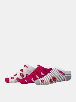 Sada tří párů růžových dámských vzorovaných nízkých ponožek SAM 73