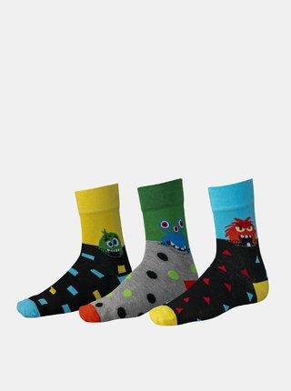 Sada tří párů vzorovaných ponožek v černé a žluté barvě SAM 73
