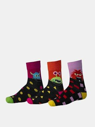 Sada tří párů vzorovaných ponožek v růžové a černé barvě SAM 73