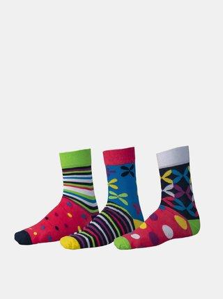 Sada tří párů vzorovaných ponožek v červené a modré barvě SAM 73