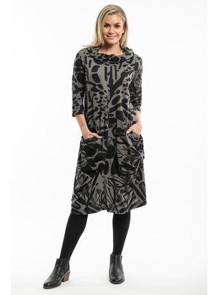 Orientique šedé šaty Apollo s abstraktním vzorem