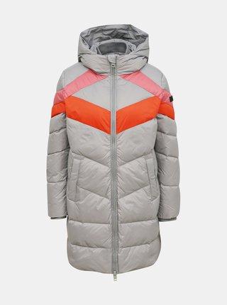 Šedý dámský zimní prošívaný kabát Diesel