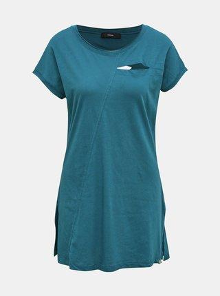 Modré dámske dlhé tričko s priestrihmi Diesel