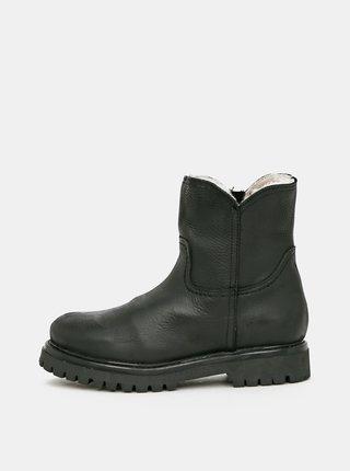 Čierne dámske kožené zimné topánky OJJU