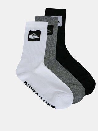 Sada tří ponožek v černé a šedé barvě Quiksilver