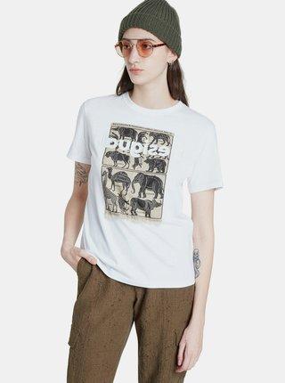Biele tričko s potiskem Desigual