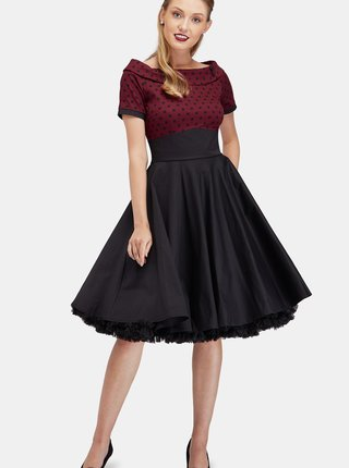 Vínovo-čierne šaty s bodkovaným topom Dolly & Dotty