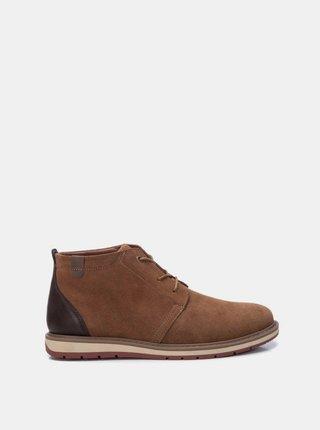 Hnedé pánske semišové členkové topánky Xti