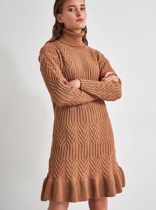 Hnědé svetrové šaty s rolákem Trendyol