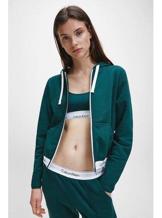 Calvin Klein petrolejová mikina Full Zip Hoodie